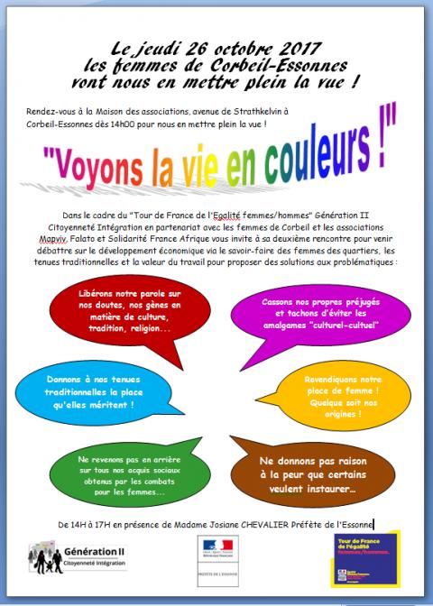 2ème rencontre / débat «voyons la vie en couleurs» à Corbeil